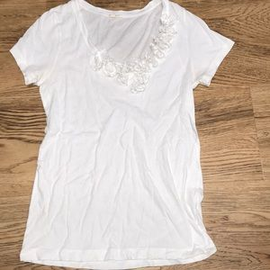 J Crew White T Shirt W/Embellished Accents Sz M